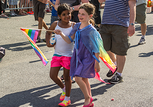 Children marching for pride