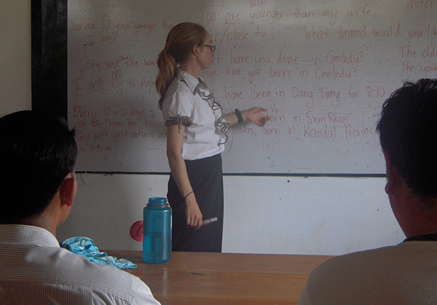 Lauren Arnold Bell teaching English teachers and faculty at her Peace Corps Cambodia placement in Dang Tung District of Kampot Province, January 2009.