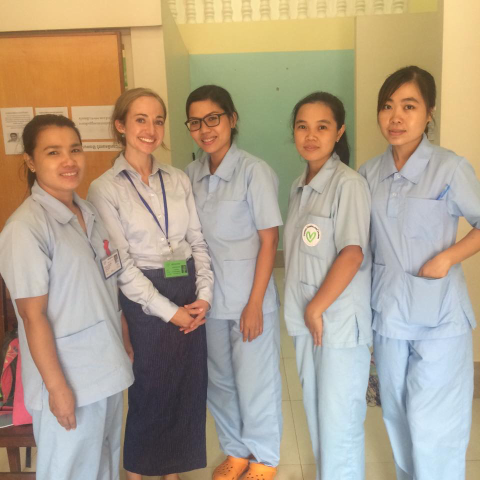 Lauren Arnold Bell, second from left, and pediatric nurses in triage at Angkor Hospital for Children in Siem Reap, Cambodia, September 2016.