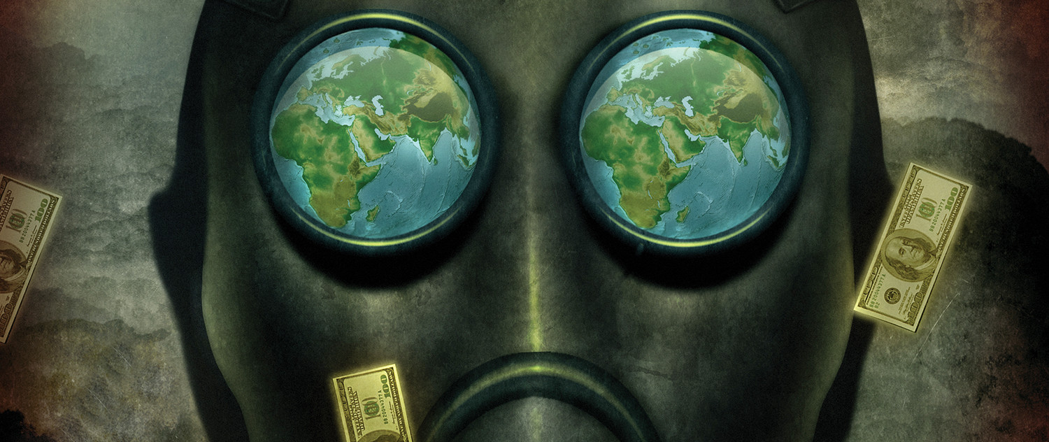 illustration of gasmask and currency