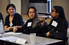 SMS students share their practicum experiences at a student informational panel session.