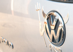 VW emblem with devil horns