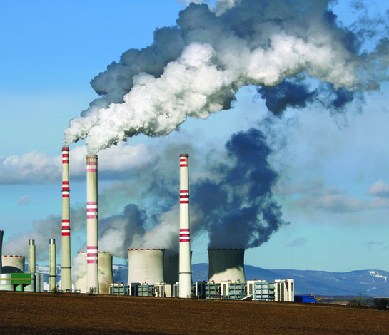 Power plants releasing gases